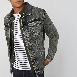 Veste oversize en jean gris délavée à l'acide