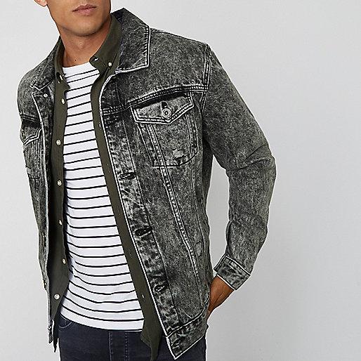 Grey acid wash oversized denim jacket