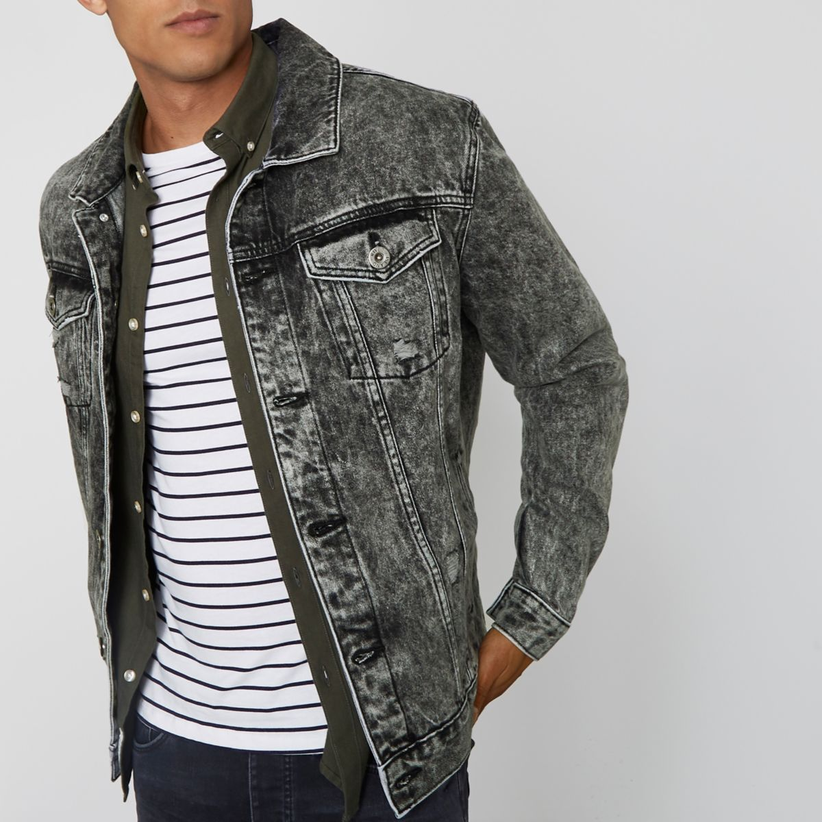 Grey acid wash oversized denim jacket
