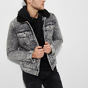 Grey acid wash fleece collar denim jacket