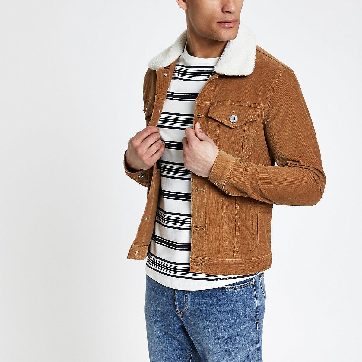 Tan fleece collar cord jacket