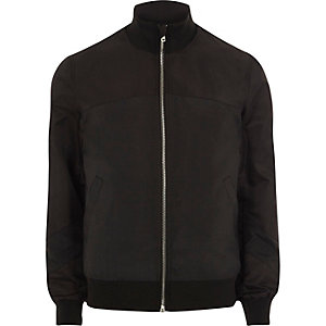 Black funnel neck bomber jacket