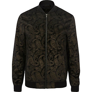 Dark brown and gold paisley bomber jacket