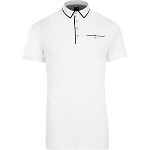 White contrast trim slim fit polo shirt