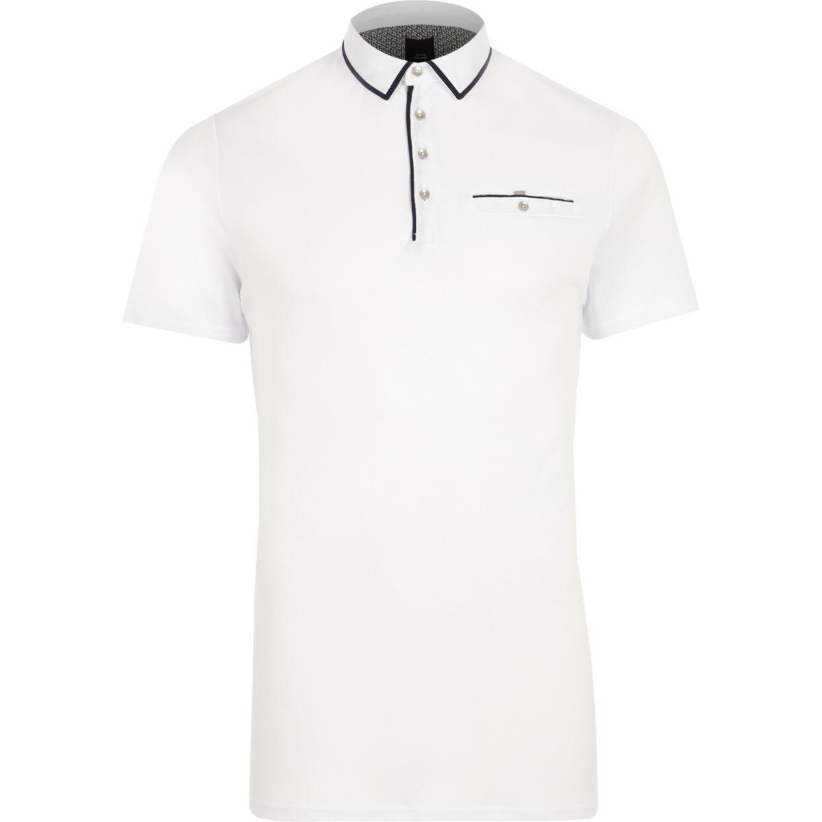 White contrast trim slim fit polo shirt