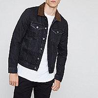 Black denim faux suede collar jacket
