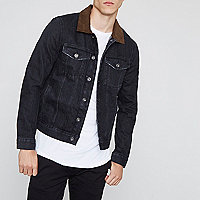 Black denim faux suede collar jacket