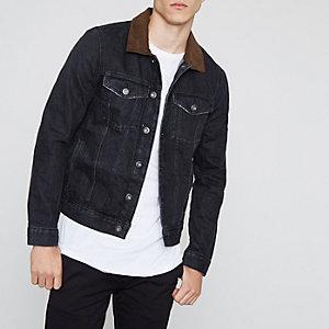 Veste en jean noire à col en suédine