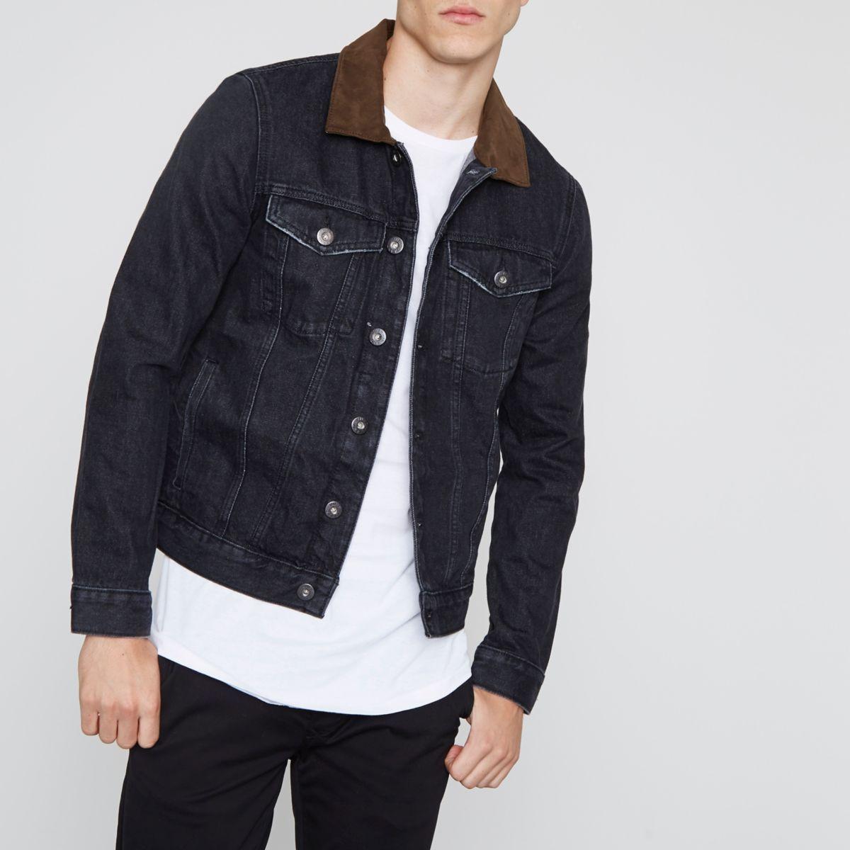 Schwarze Jeansjacke mit Kunstfellkragen