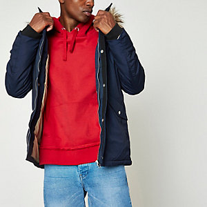 Navy faux fur trim hooded parka jacket