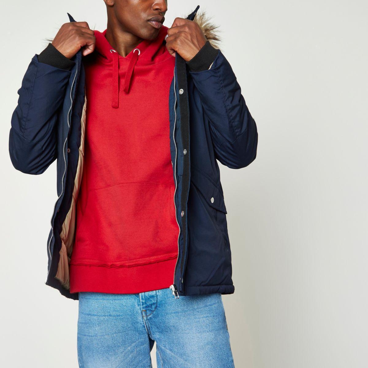 Navy faux fur trim hooded parka