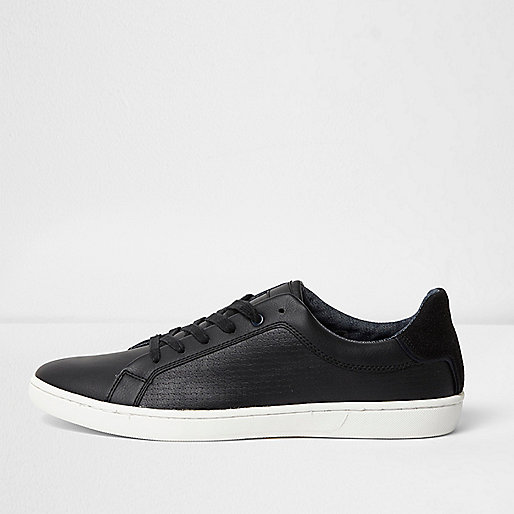 Black textured lace-up sneakers