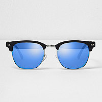 Black half frame blue lens sunglasses