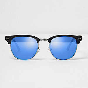 Black half frame blue lens sunglasses