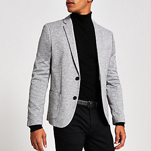 Light grey space dye skinny fit blazer