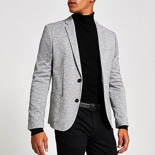 Light grey space dye skinny fit blazer