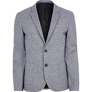 Light blue space dye skinny fit blazer