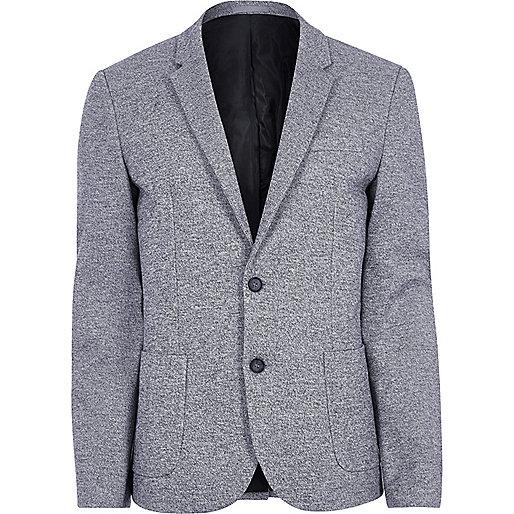 Light blue space dye skinny fit blazer