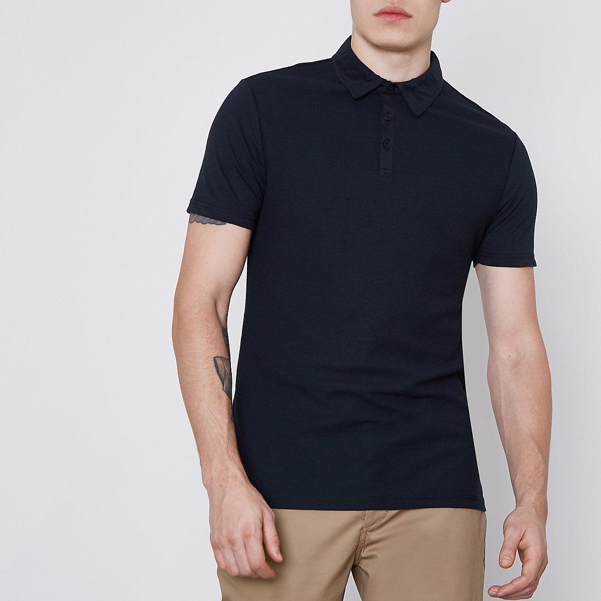 Slim Fit Polohemd mit Waffelstruktur