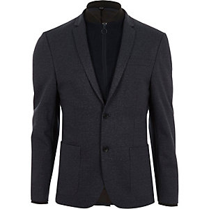 Grey quilted insert slim fit blazer