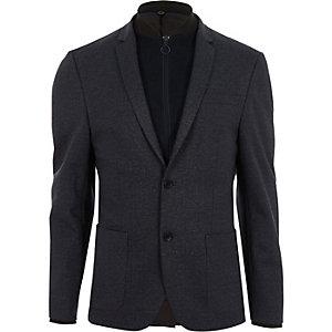 Grey quilted insert slim fit blazer