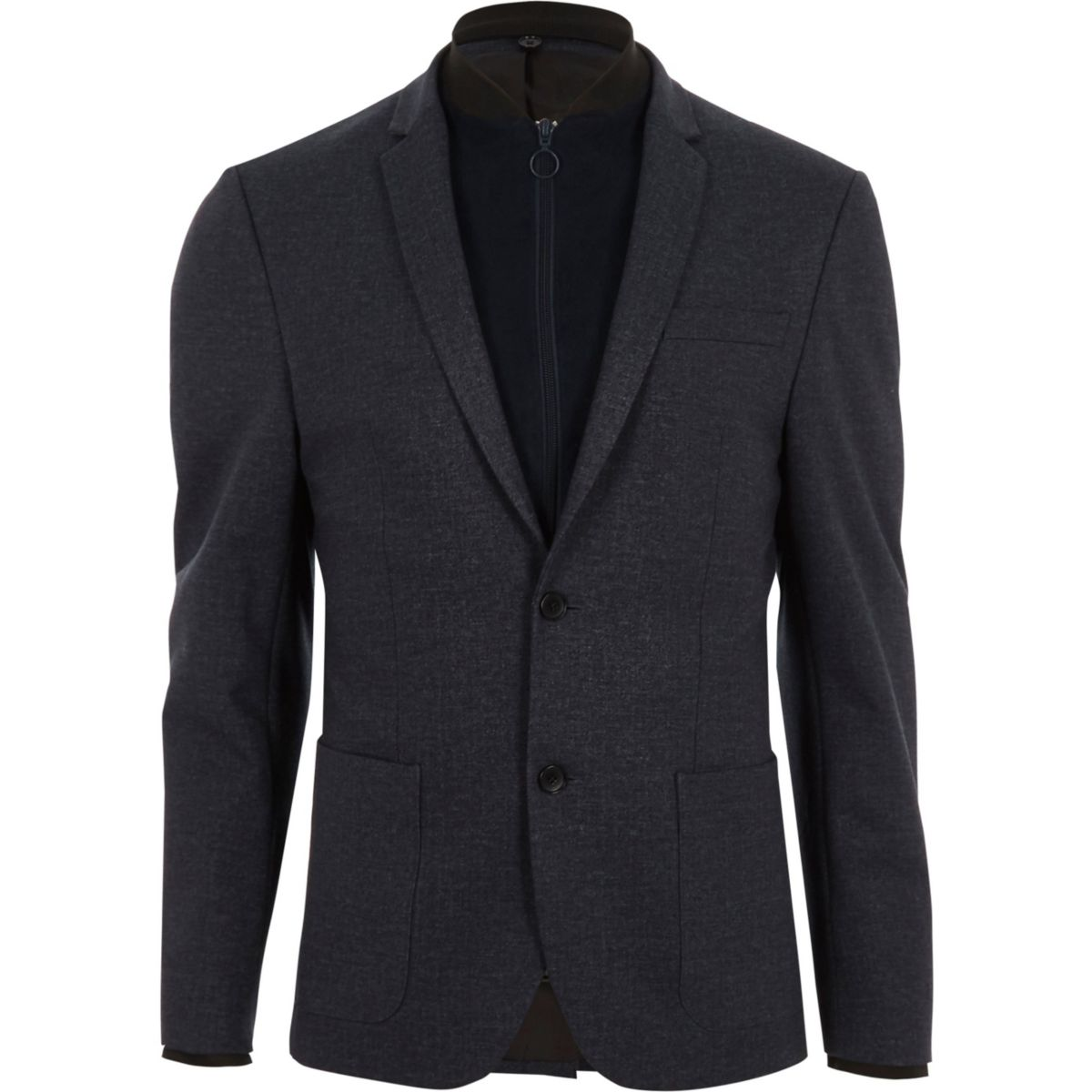 Navy Bomber Jacket Insert Skinny Fit Blazer - Blazers - Sale - Men
