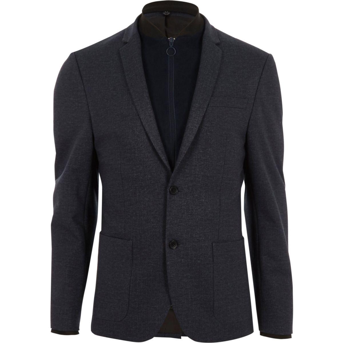 blazer skinny bleu marine avec empi cements fa on blouson blazers promos homme. Black Bedroom Furniture Sets. Home Design Ideas