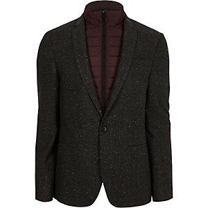 Grey bomber jacket insert skinny fit blazer