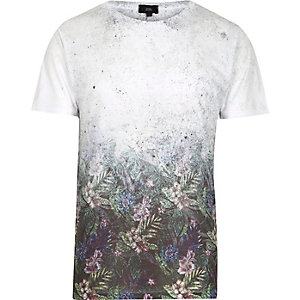 T-shirt à imprimé floral délavé blanc manches courtes