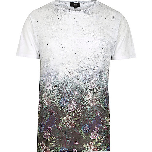 White floral fade short sleeve T-shirt