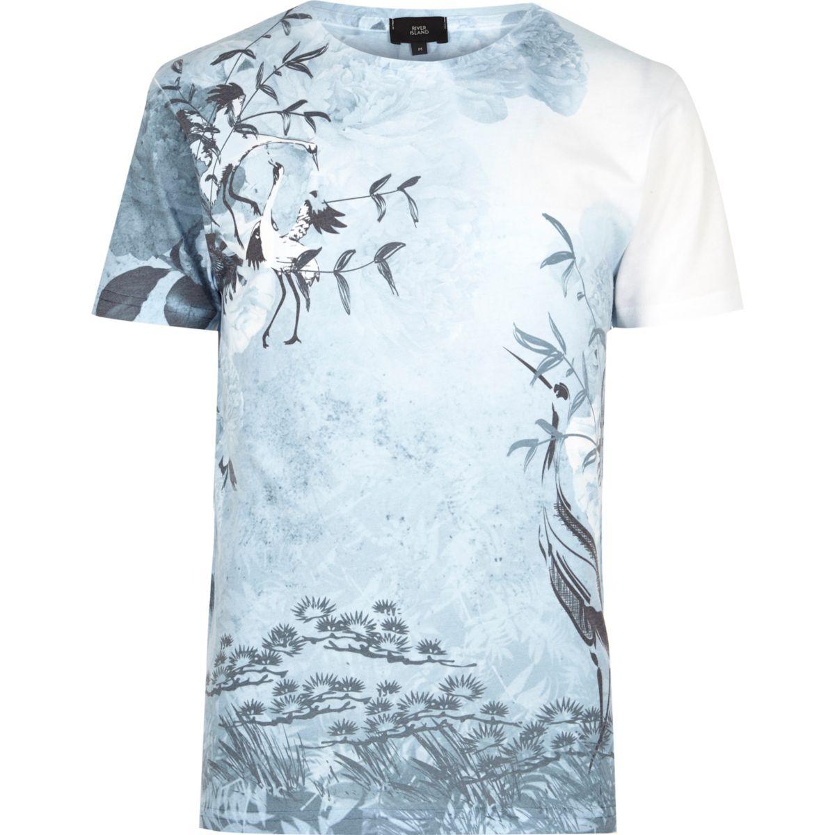 White and blue oriental bird print T-shirt