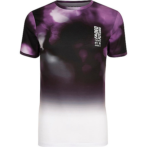 White and purple print muscle fit T-shirt