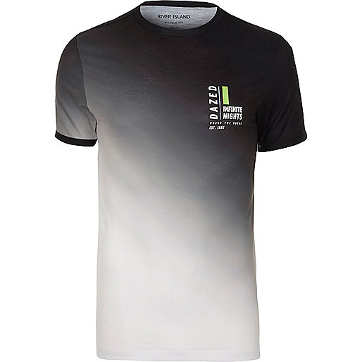 White and black fade print muscle fit T-shirt