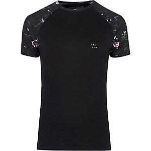 T-Shirt mit Pantherprint und Raglanärmeln
