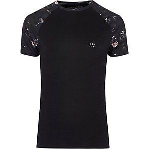 Big & Tall – T-shirt noir motif panthère à manches raglan