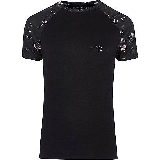 Big and Tall black panther raglan T-shirt