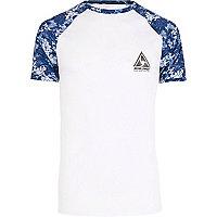 Big & Tall – T-shirt blanc à manches raglan bleues
