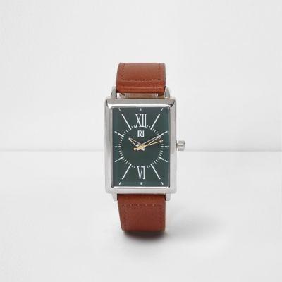 Horloge met groene wijzerplaat en bruin imitatieleren bandje