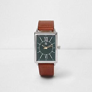 Hellbraune Armbanduhr aus Lederimitat mit grünem Zifferblatt