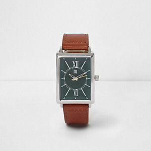 Tan faux leather rectangle green face watch