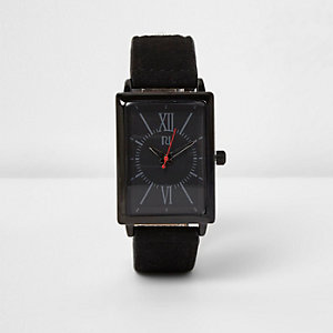 Black fabric strap rectangle face watch