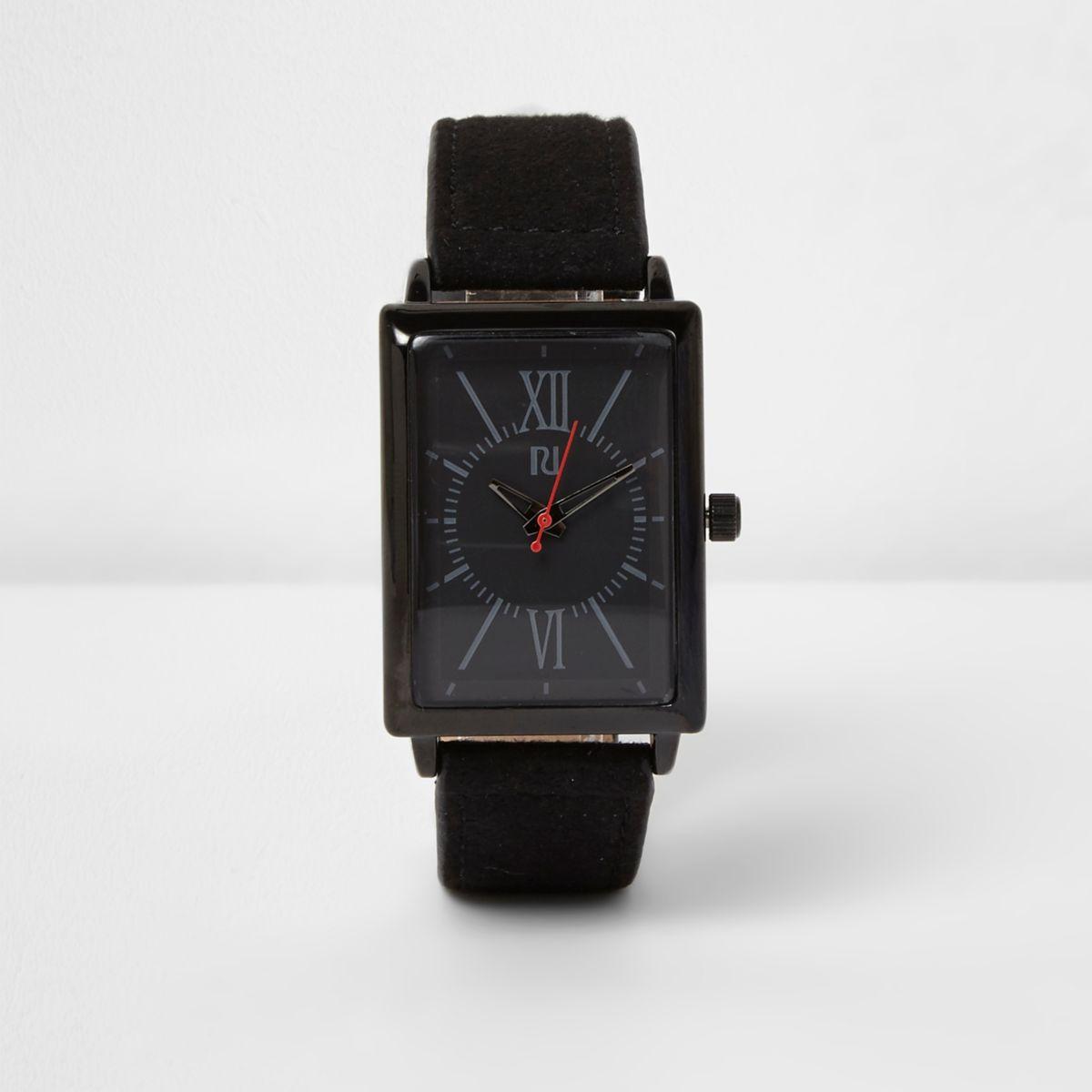 Horloge met vierkante wijzerplaat en zwart stoffen bandje