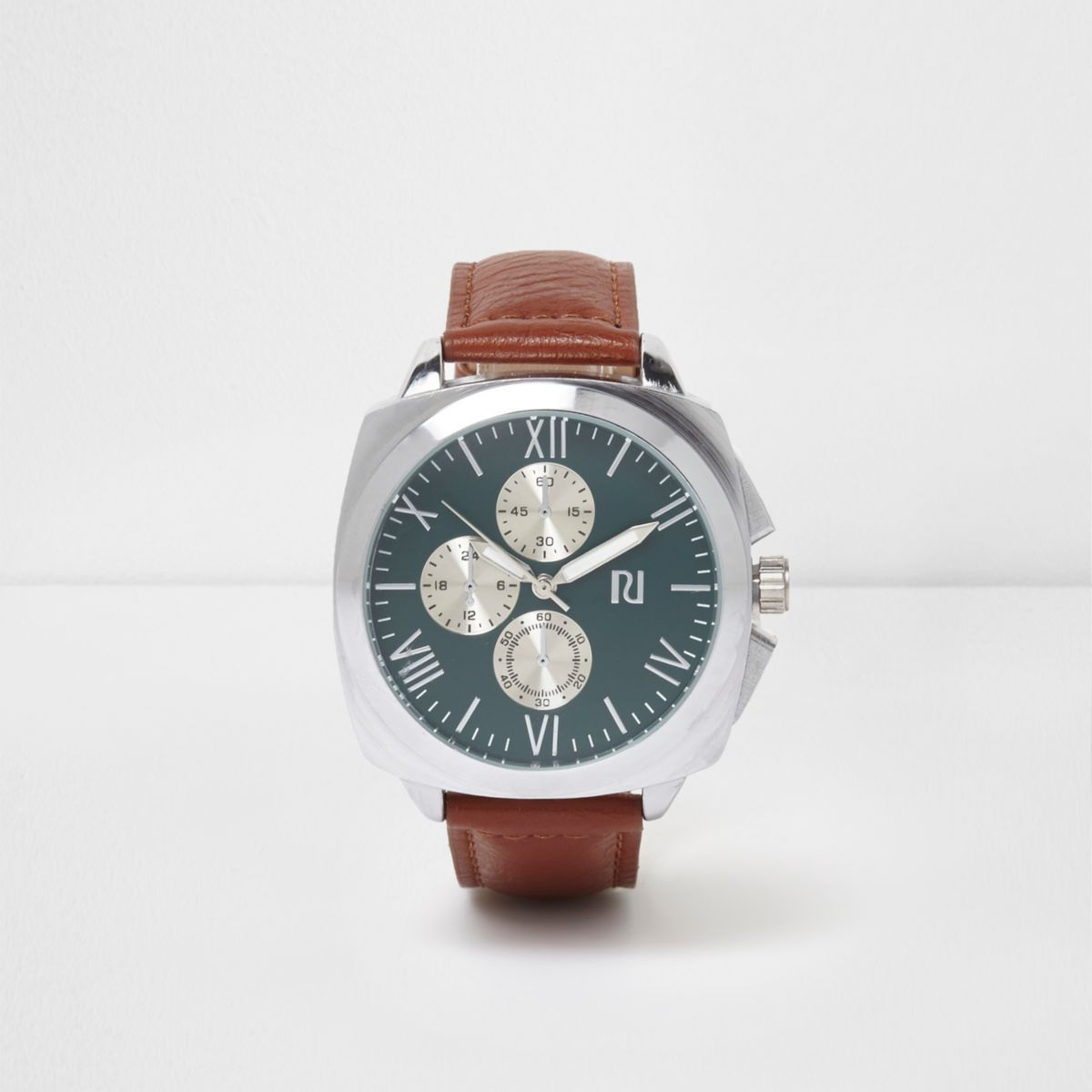 Tan strap round turquoise face watch