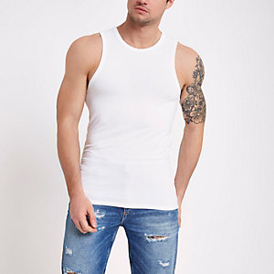 White muscle fit vest top