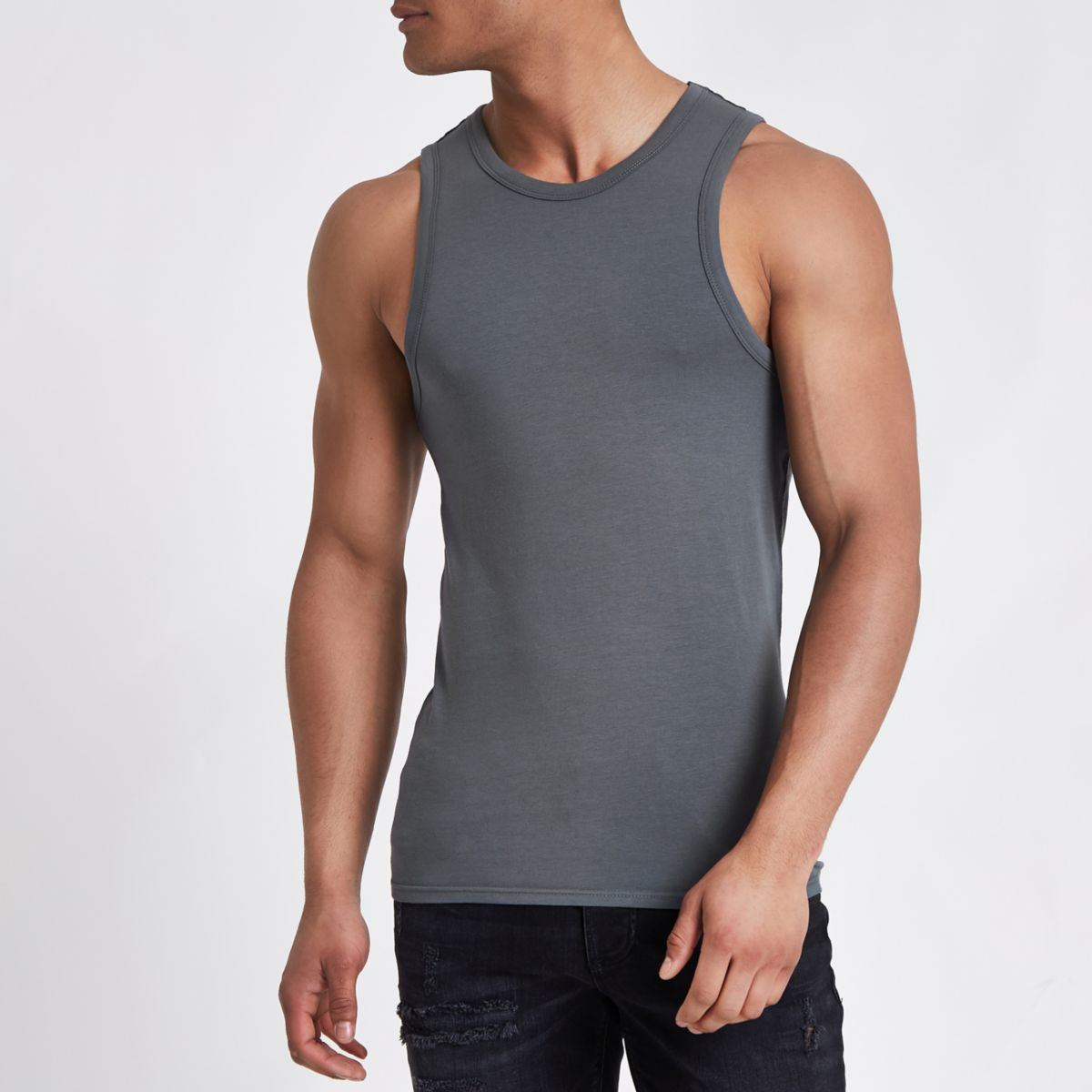 Dark grey muscle fit vest top
