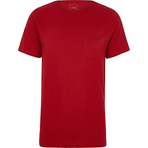 Red slub slim fit pocket T-shirt