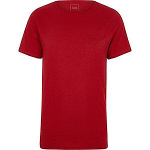 T-shirt slim en tissu flammé rouge à poche