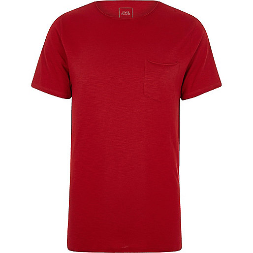 rotes slim fit t shirt mit tasche unifarbene t shirts. Black Bedroom Furniture Sets. Home Design Ideas