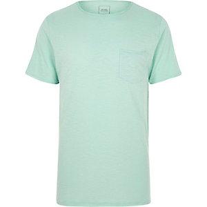 T-shirt slim ras-du-cou vert clair chiné