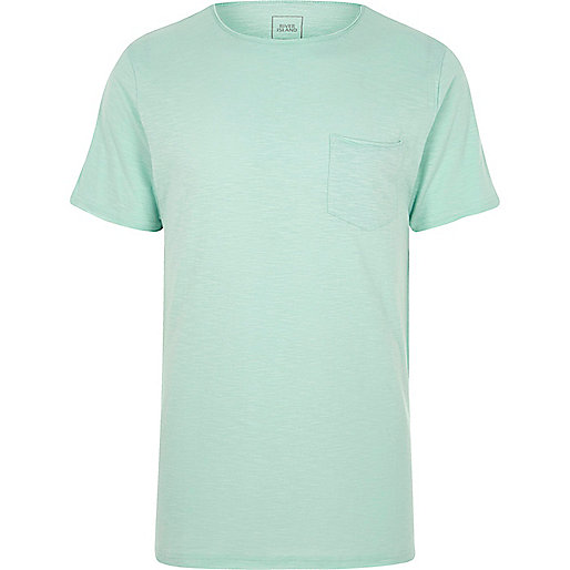 Light green slub slim fit crew neck T-shirt
